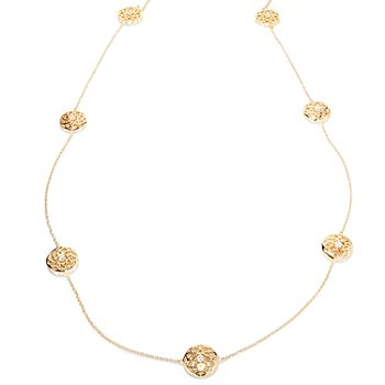 121-196 - Sonia Bitton for Brilliante® 36'' 3.06 DEW Round Cut-out Medallion Station Necklace
