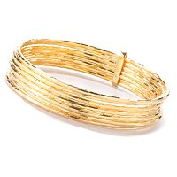 BRONZE/18KGP BRAC SET OF 7 DIA-CUT SLIP-ON BANGLES w/ CONNNECTER SLIDE