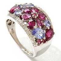 SS/PLAT RING RHODOLITE & TANZANITE w/ DIAMOND ACCENT FLOWER BAND