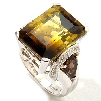 121-208 - NYC II 10.24ctw Smoketrine, Smoky Quartz & White Zircon Ring