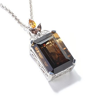 121-209 - NYC II 12.24ctw Smoketrine & Multi Gemstone Pendant w/ Chain