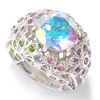SS/PLAT RING TOPAZ & MULTI-GEM