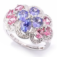 SS/P RING TANZANITE & PINK TOURMALINE DIAMOND ACCENT
