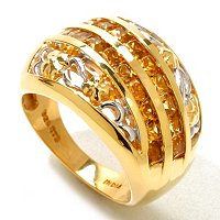 SS/18KV RING GOLDEN TOURMALINE FLOWER BAND