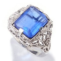 SS/P RING RADIANT-CUT COLOR CHANGE FLUORITE