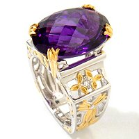 SS/PALL/18KGP RING 18X13MM TANZANIAN COLOR-SHIFT AMETHYST & WHT SAPH