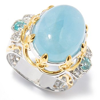 121-227 - Gems en Vogue II 16 x 12mm Aquamarine, White Sapphire & Apatite Ring