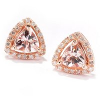 14K RG TRILLION MORGANITE AND DIAMOND EARRING