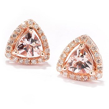 121-245 - Gem Treasures 14K Rose Gold 1.51ctw Trillion Shaped Morganite & Diamond Earrings