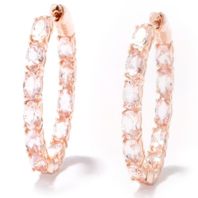121-246 - Gem Treasures 14K Gold 4.52ctw Morganite Hoop Earrings w/ Clicker Backs