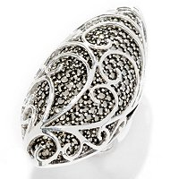 SS ELONGATED MARCASITE WITH SILVER WAVE OVERLAY