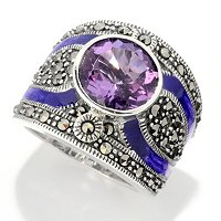 SS AMY AND MARCASITE WITH SAHDES OF PURPLE ENAMEL RING