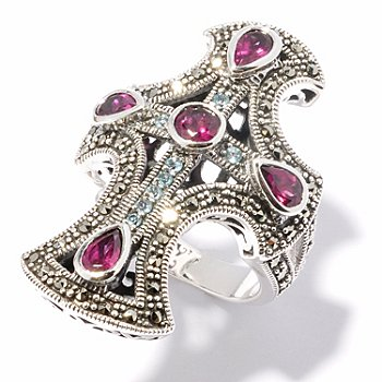 121-288 - Dallas Prince Sterling Silver Multi Gem Ring Made w/ Swarovski® Marcasite