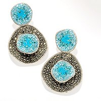 SS PAVE SHADES OF BLUE CRYSTAL AND MARCASITE EARRINGS