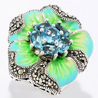 SS MARCASITE FLOWER WITH BLUE-GREEN ENAMEL
