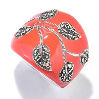 SS TANGERINE ENAMEL RING WITH MARCASITE LEAVES