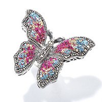 SS MULTI COLOR CRYSTAL WITH MARCASITE RING