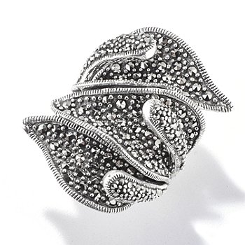 121-301 - Dallas Prince Sterling Silver Lily Wrap Ring Made w/ Swarovski® Marcasite