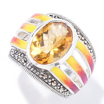 121-309 -  Dallas Prince Sterling Silver Citrine Ring Made w/ Swarovski® Marcasite