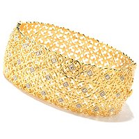 SS/18KGP BRAC .10CT DIAMOND WIDE HINGED BANGLE