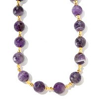 "SS/18KGP NECK ROUND AMETHYST & POLISHED SPACERS - 18"" w/ 4"" EXT"