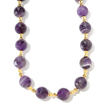 121-335 - Portofino Gold Embraced™ 18'' Round Amethyst & Polished Spacers Necklace w/ 4'' Extender