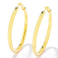 "SS/18KGP EAR POLISHED 2"" HOOP w/ OMEGA BACK"