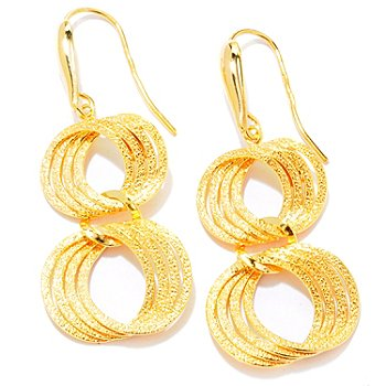 121-340 - Portofino Gold Embraced™ Polished & Textured Link Earrings