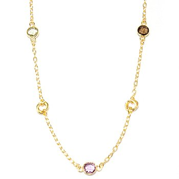 121-356 - Portofino Gold Embraced™ 39'' Rolo Link Multi Gemstone Station Necklace