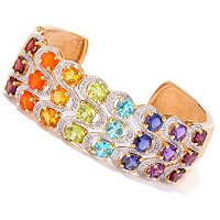 SS/P BRAC MULTI-GEMSTONE EXOTIC RAINBOW & DIAMOND ACCENT HINGED CUFF