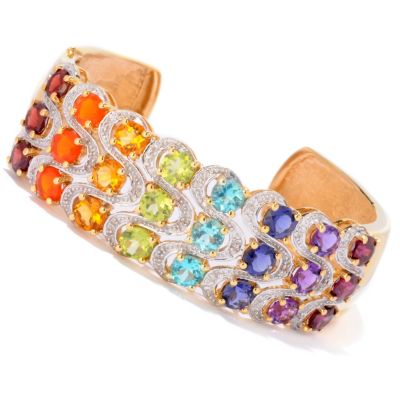 121-370 - NYC II 10.20ctw Exotic Rainbow Hinged Cuff Bracelet