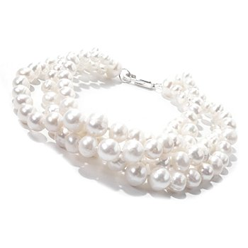 121-395 - Sterling Silver 4.5-8mm Natural Freshwater Cultured Pearl Four-Row Bracelet