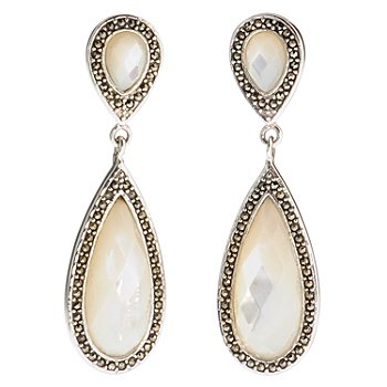 121-398 - Gem Insider Sterling Silver Mother-of-Pearl & Marcasite Drop Earrings