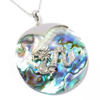 "121-399 - Gem Insider Sterling Silver 50mm Abalone Dragon Pendant w/ 18"" Chain"