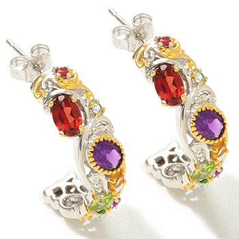 121-410 - Gems en Vogue II 3.56ctw Multi Gemstone ''Carnaval'' J-Hoop Earrings