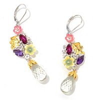 SS/PALL/18KGP EAR MULTI-GEM & SHELL FLOWER BRIOLETTE DROP