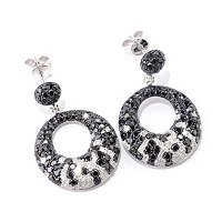 EFFY 14K WHITE GOLD DIAMOND & BLACK DIAMOND EARRINGS