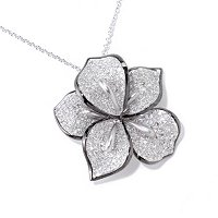 EFFY 14K WHITE GOLD DIAMOND PENDANT W/ BLACK RHODIUM