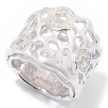 121-441 - EFFY Sterling Silver 0.14ctw Diamond ''Balissima'' Double Layer Ring