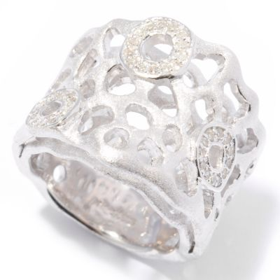"121-441 - EFFY Sterling Silver 0.14ctw Diamond ""Balissima"" Double Layer Ring"
