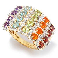 SS/P RING MULTI-GEMSTONE & DIAMOND ACCENT