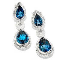 SS/PLAT EAR LONDON BLUE TOPAZ & DIAMOND TEARDROP