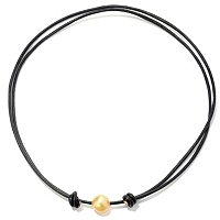11mm GOLDEN SOUTH SEA PEARL ADJUSTABLE LEATHER NECKLACE