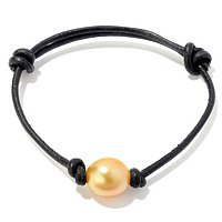10mm GOLDEN SOUTH SEA PEARL ADJUSTABLE LEATHER BRACELET