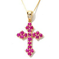 14K YG RUBY CROSS WITH CHAIN