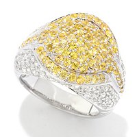 SS PAVE RING YELLOW / WHITE ZIRCON RING