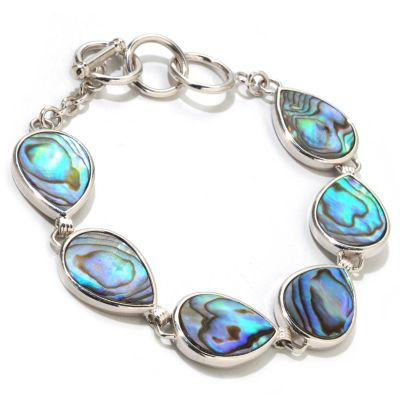 "121-484 - Gem Insider Sterling Silver 8"" Pear Shaped Abalone Toggle Bracelet"
