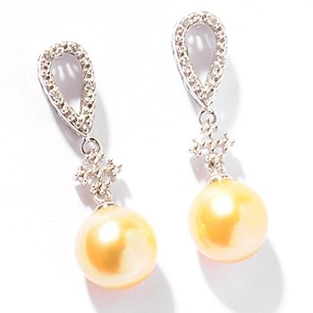 121-490 - Sterling Silver 9-10mm Golden South Sea Cultured Pearl & White Topaz Earrings