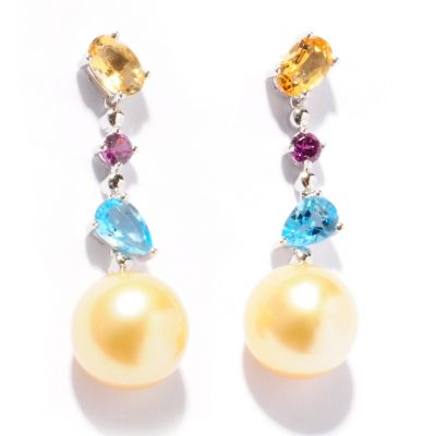 121-491 - Sterling Silver 10-11mm Golden South Sea Pearl & Multi Gemstone Drop Earrings