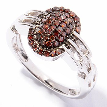 121-502 - Diamond Treasures Sterling Silver 0.48ctw Red Diamond Woven Design Ring
